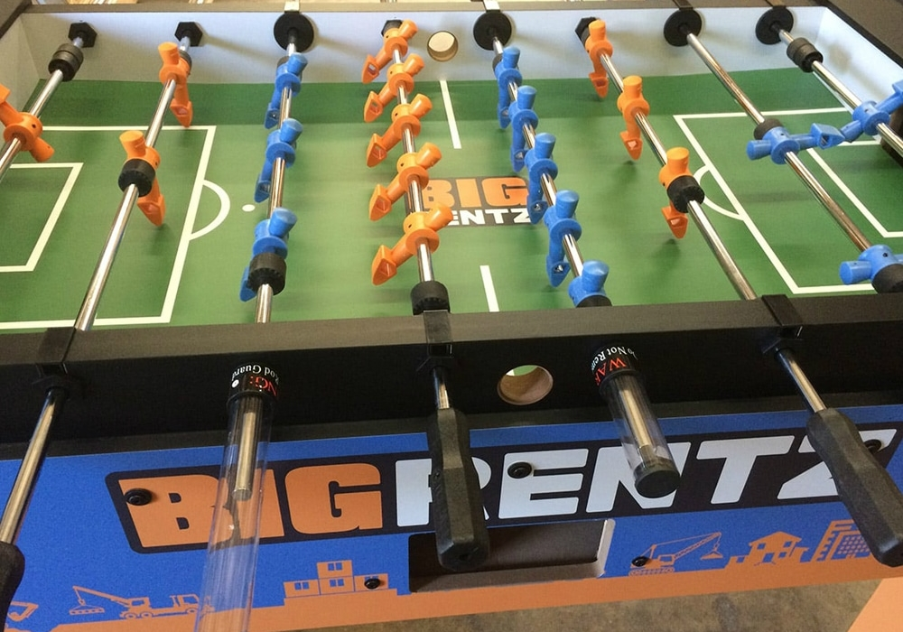 Big Rentz Custom Foosball Table top side view