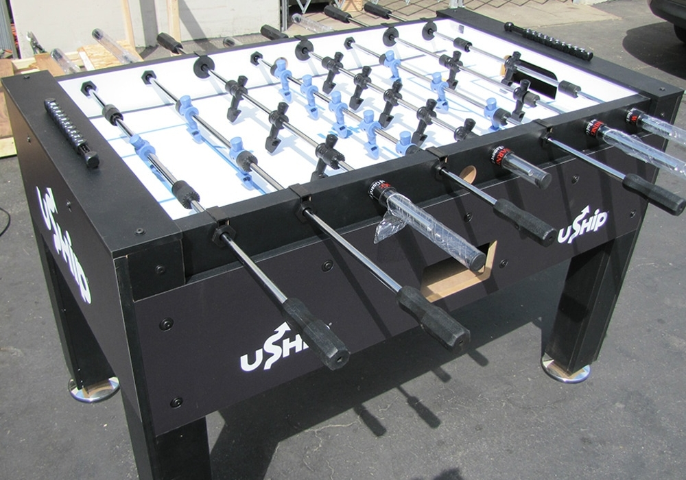 Uship Custom Foosball Table side angle view