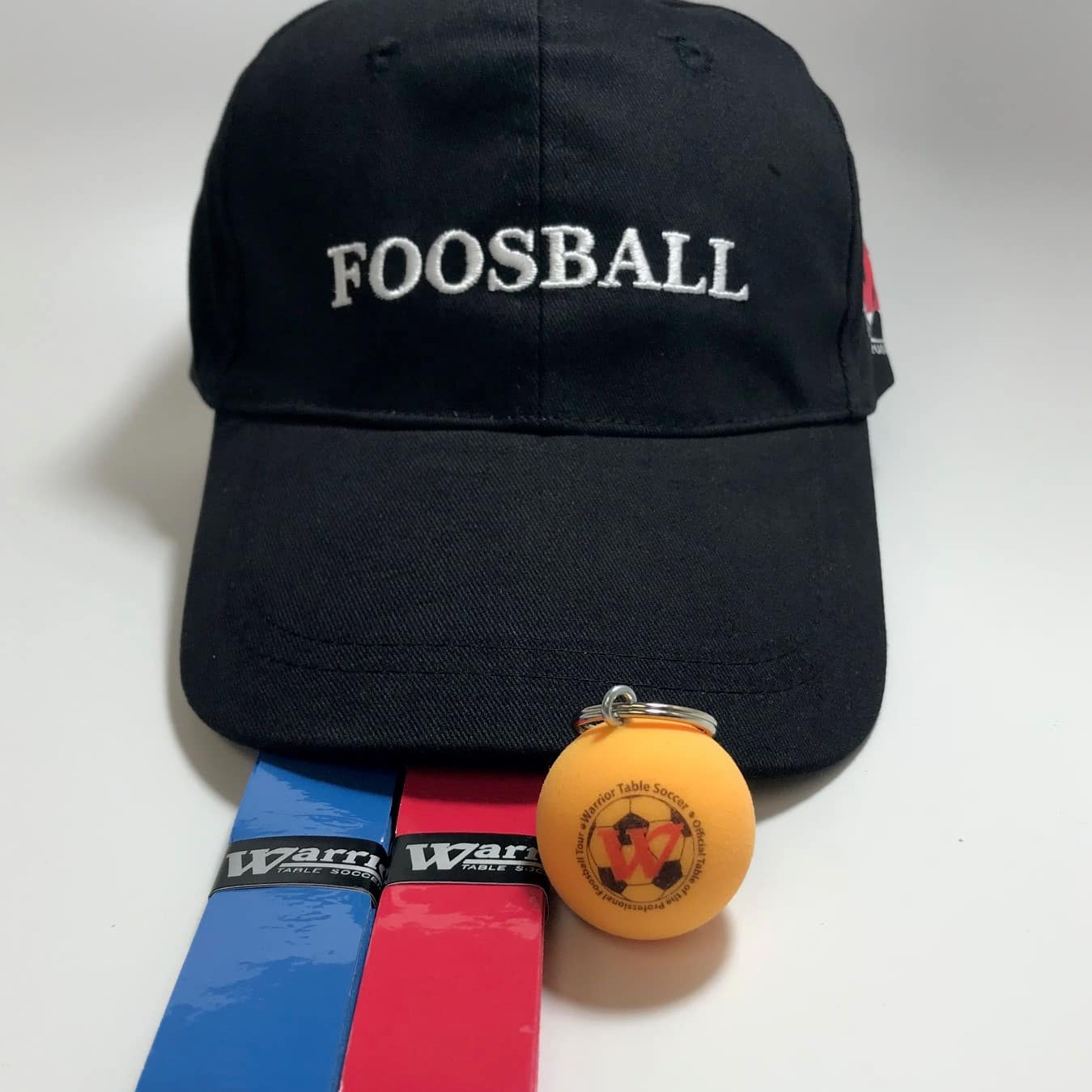 hat, keychain and wraps