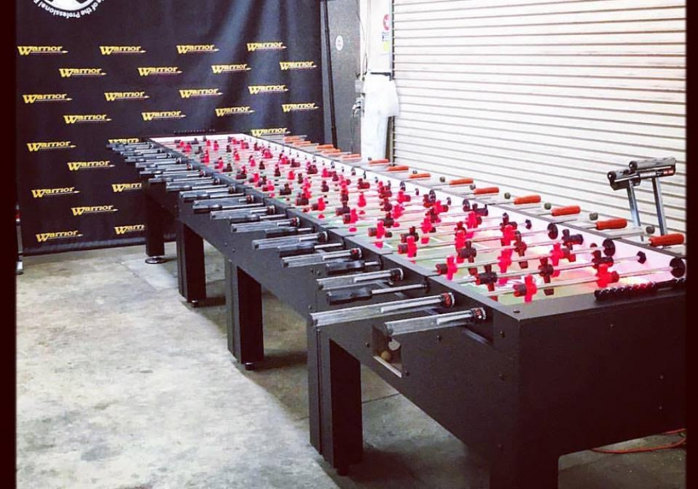 16 player custom foosball table made by warrior table soccer