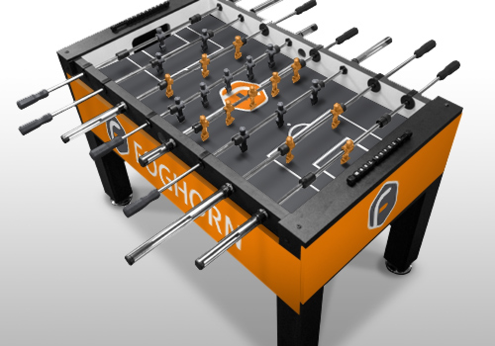 Foghorn Custom Foosball Table top angle view