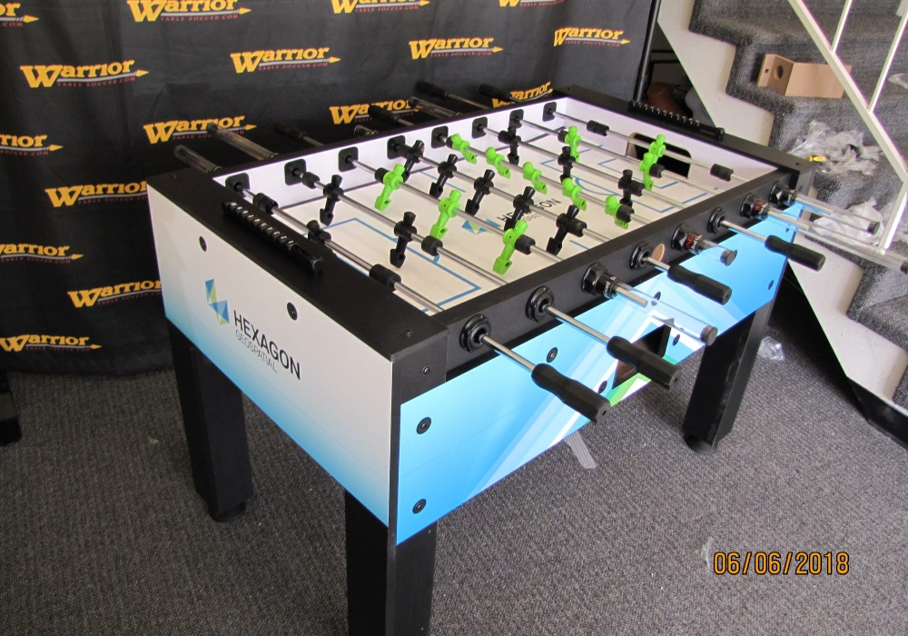 Hexagon Custom Foosball Table side angle top level view