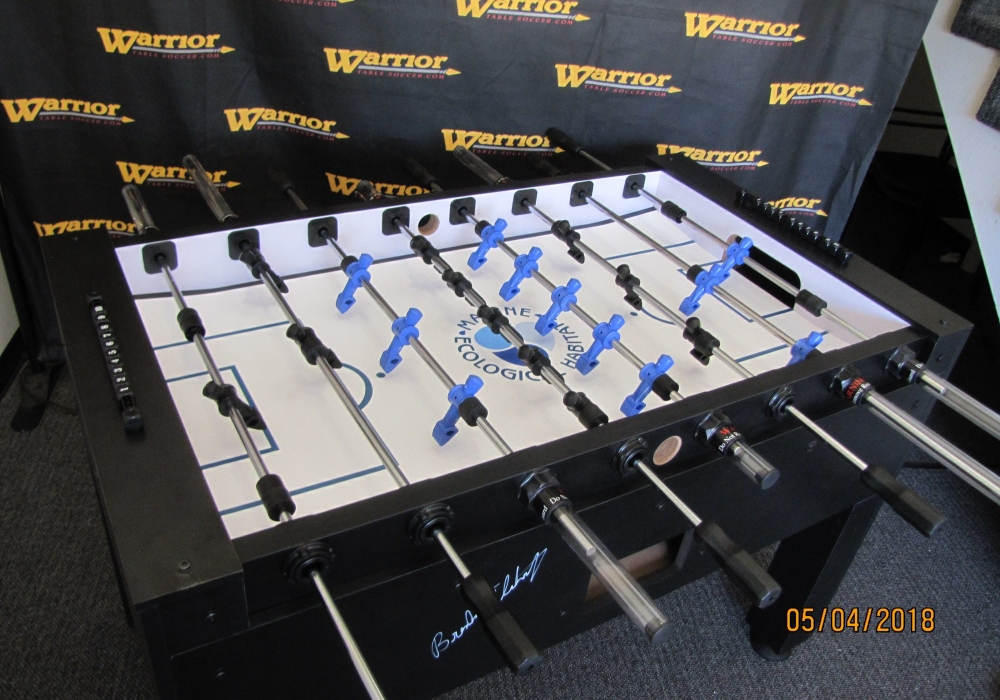 Top view of Marine Eco custom foosball table