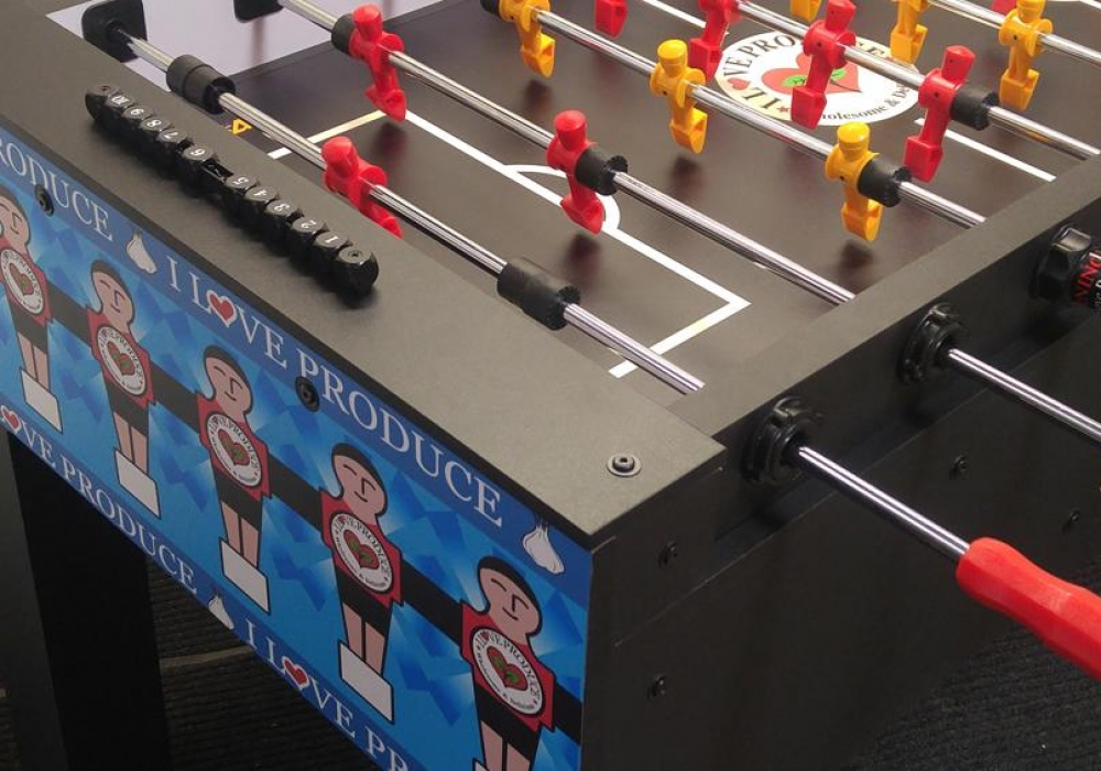 Trade Show fooball table customized for i love produce