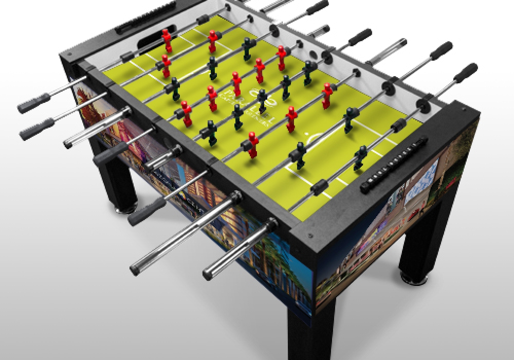 Parallel Capital Partners Custom Foosball Table top level angle view