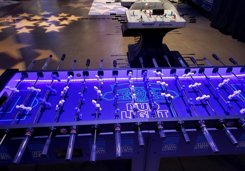 Corporate event multi-player foosball table with Led made for Bud Light